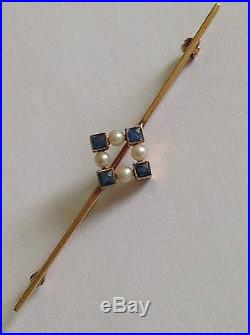 Fine Antique Victorian 15ct Gold Sapphire & Seed Pearl Set Brooch