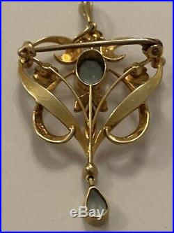Fine Art Nouveau 15ct Gold Aquamarine & Natural Seed Pearl Set Pendant / Brooch