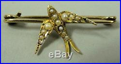 Fine Edwardian 15k & 9 K Gold Seed Pearl Set Bird Brooch C. 1910 2.1 Grams