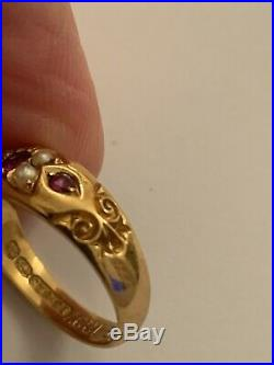 Fine Victorian 15ct Gold Natural Ruby & Seed Pearl Set Ring