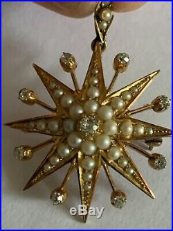 Fine Victorian 15ct Gold Natural Seed Pearl & Diamond Set Star Pendant / Brooch