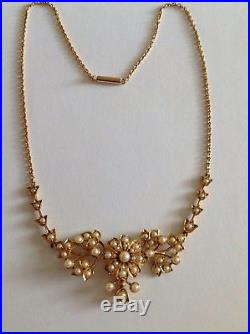 Fine Victorian 15ct Gold Natural Seed Pearl Set Necklace In Fitted Case