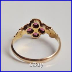 Fine Victorian 15ct Gold Pink Tourmaline & Pearl set Floral Cluster Ring c1863
