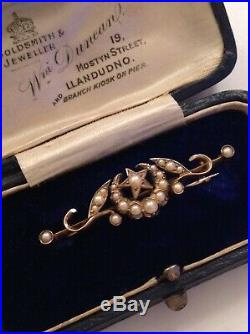 Fine Victorian 15ct Gold & Seed Pearl Set Crescent Star Brooch In Antique Box