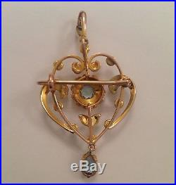 Fine Victorian 9ct Gold Aquamarine & Seed Pearl Set Pendant Brooch