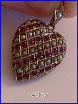 Fine Victorian 9ct Gold Heart Shaped Ruby & Seed Pearl Set Heart Pendant