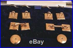 Fine Vintage 9 Carat Gold Mop Mens Cuff Links Dress Buttons & Studs Set Cased