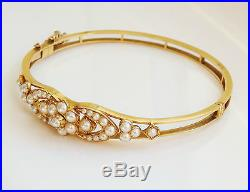 Finest Antique Victorian 15ct Gold Pearl set Hinged Bangle c1895 in Fitted Case