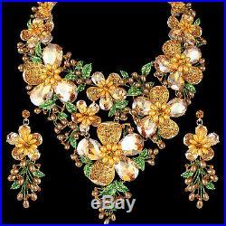 Flower Bouquet Pearl Topaz Floral Necklace Earrings Set Gold GP Women Dazzling