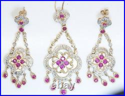 GORGEOUS 14K Gold Ornate Ruby Diamond & Mother of Pearl Necklace & Earring Set