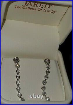 GORGEOUS! 14K SOLID GOLD BEZEL SET DIAMONDS by the YARD 1.5 LONG DROP EARRINGS