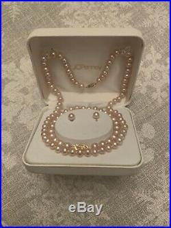 Genuine Freshwater Pink Pearl 18 Necklace, Bracelet & Earrings Set 14K Gold