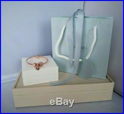 Genuine Pandora 14k Rose Gold Snake Chain Bracelet And Charm Set. Ale Met 580726
