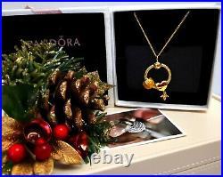 Genuine Pandora 18k Gold Small O Pendant & Necklace Set+ Charms 368736coo New