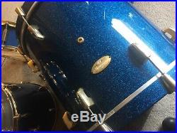 Genuine Pearl Masterworks 4 PIECE drum set GOLD hardware blue glitter Gorgeous