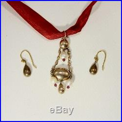 Georgian Foiled Flat cut Garnet & Pearl Pendant with Garnet Earrings Set in Gold