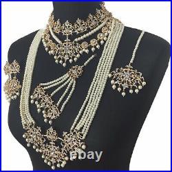 Gold Asian Pearl Mala Pakistani Golden Bridal Necklace Wedding Indian Jewellery