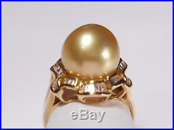 Golden South Sea pearl set(ring, earrings, pendant), diamonds, solid 14k yellow gold