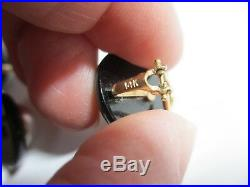 Gorgeous 14k Yg 8-10 MM Mabe Pearl & Onyx Ring & Earrings Set-exquisite Trio-nr