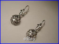 Gorgeous Antique Estate 14K White Gold Prong Set Diamond Drop Earrings