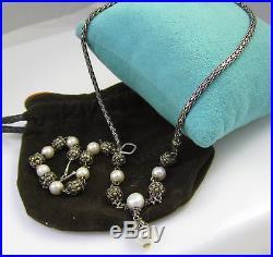 Gorgeous Set JOHN HARDY Sterling Silver 18k Gold Pearl Dots Bracelet & Necklace