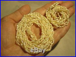 Gorgeous Vintage 14k Gold Genuine Pearl 5-strand Necklace & Bracelet Set Estate
