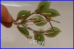 Gorgeous Vintage 14kt Yellow Gold Jade & Pearl Brooch & Clip-On Earring Set