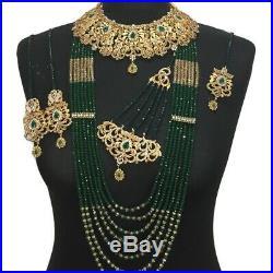 Green Pakistani Gold Plated bridal jewellery set Indian Dulhan Mala Wedding Set