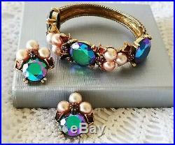 HAR Gold Plated Cuff/Bracelet & Clip Earrings Faux Pearl AB Peacock Rhinestones