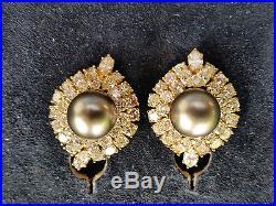 HARRY WINSTON Black Pearl & Diamond Earring and Ring Set 18k Yellow Gold