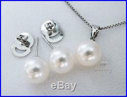 HS Round 10mm South Sea Cultured Pearl Earrings & Pendant 18K White Gold Set Top