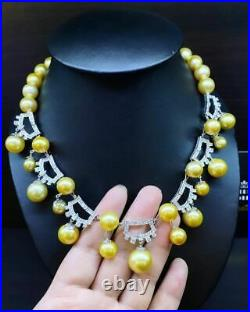 HUGE SET! Golden South Sea Pearl Diamond 18K white gold necklace earring natural