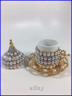 Handmade Copper Turkish Coffee Espresso Serving Set Gold Swarovski Coated Pearl