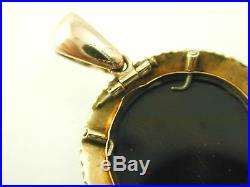 Hardstone cameo pendant pearl set antique Victorian gold circa 1880s 4.6 grams