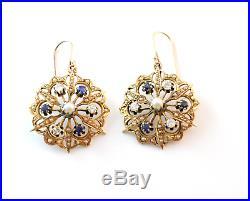 Important Victorian Diamond Sapphire Pearl Star Pendant & Earring Set 14k Gold