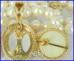 Incredible 14k Yellow Gold & Pearls Pierced Earrings & Necklace & Enhancer Set