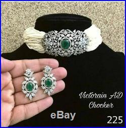 Indian Bollywood CZ AD Wedding Gold Fashion Jewelry Choker Green Necklace Set tc