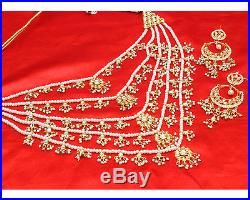 Indian Bollywood Design Rani Haar Gold Plated Kundan Bridal Necklace Set Jewelry Pearl Gold Set