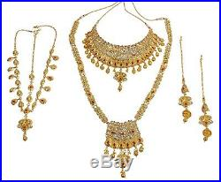 Indian Bollywood Gold Plated Bridal Wedding Kundan Fashion Earrings Jewelry Set