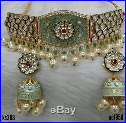 Indian Bollywood Gold Plated Design Polki Bridal Kundan Heavy Necklace Set