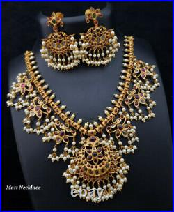 Indian Bollywood Style Gold Plated Choker Necklace Earrings Pearl CZ Jewelry Set