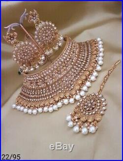 Indian Bollywood Style High Quality Choker Ethnic Bridal Wear Polki Jewelery Set