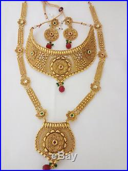Indian Fashion Jewelry Bridal Necklace long har Bollywood ethnic Gold plated set  sc 1 st  Pearl Gold Set & Indian Fashion Jewelry Bridal Necklace long har Bollywood ethnic ...