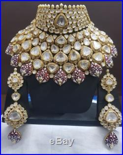 Indian Jewelery Meena Heavy Wedding Polki Kundan Ethnic Necklace Earring set