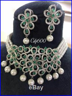 Indian Wedding Bollywood Style Emarald Jewelry CZ AD Gold Choker Necklace Set