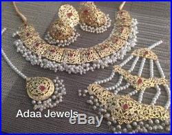 Indian jewellery set gold earrings necklace Tika Jhumar Pearls Choker Ruby