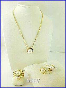 JETTE JOOP-Schmuckset PEARL- 750 Gelb-Gold Halskette + Ring + Ohrstecker