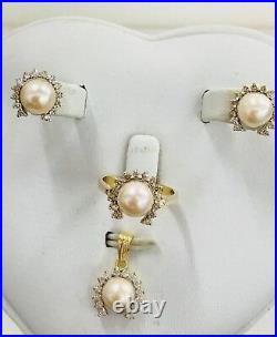 Jewelry Pearls Diamond Set 14 Karat Gold Ring Sz 8.5 Pendant Earrings