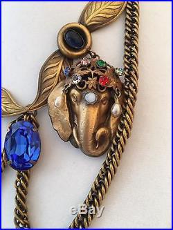 Joseff Of Hollywood Elephant Head Ca 47-50 Gold Played Pearls, Rhinestones Set