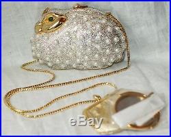 Judith Leiber Pearl Bunny Rabbit Swarovski Crystal Minaudiere Purse &pillbox Set